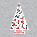 Retro christmas card birds on christmas tree for invitation congratulation in Royalty Free Stock Photography
