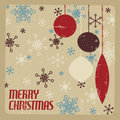 Retro christmas card with christmas decorations and snowflakes brown and red Stock Image