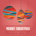 Retro christmas card with christmas symbols grungy balls illustration Royalty Free Stock Image