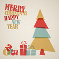 Retro christmas card with christmas tree and gifts boxes Stock Photography