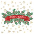 Retro Christmas card with tree branches and greetings