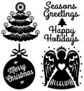 Retro christmas clip art set cute clips including a tree ornament angel and greetings Royalty Free Stock Photo