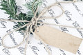 Retro Christmas Gift with Blank Tag Royalty Free Stock Photo