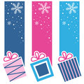 Retro Christmas Gifts Vertical Banners Royalty Free Stock Photo