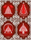 Retro Christmas greeting red cards collection with cut out paper angels, floral vintage border, Christmas tree and globe Royalty Free Stock Photo