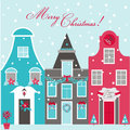 Retro christmas invitation card houses theme in Royalty Free Stock Images