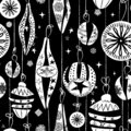 Retro Christmas ornaments seamless pattern. Yuletide black and white vector illustration