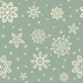 Retro Christmas pattern with white snowflakes on blue background Royalty Free Stock Photo