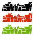 Retro Christmas Presents Silhouettes Stock Photo