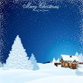 Retro christmas scene winter landscape with house decorated vector illustration Royalty Free Stock Image