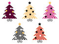 Retro Christmas Trees collection. Royalty Free Stock Photo
