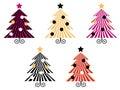Retro Christmas Trees collection. Royalty Free Stock Photo