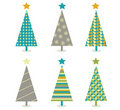 Retro christmas trees icon set Royalty Free Stock Photo