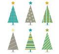 Retro christmas trees icon set Royalty Free Stock Photo