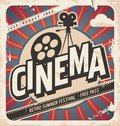 Retro cinema poster vector movie for summer festival vintage background illustration on old paper texture Stock Images