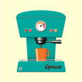 Retro coffe machine style coffee maker on candy stripe background Stock Photography