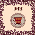 Retro coffee label vector illustration package vintage card with cup and beans pattern on seamless background vintage Royalty Free Stock Images