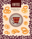 Retro coffee label vector illustration package vintage card with cup and beans pattern on seamless background vintage Royalty Free Stock Photos
