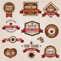 Retro coffee labels vintage and badges set Stock Images