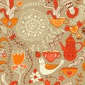 Retro coffee seamless pattern, tea background, texture with cups