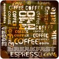 Retro coffee sign with tag cloud stains vector eps Stock Photo
