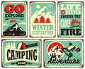 Retro collection of winter vacation signs