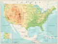 Retro Color Physical map of USA