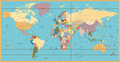 Retro color political World Map Royalty Free Stock Photo