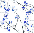 Retro color tone of flower branch with white background Royalty Free Stock Photo