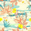 Retro colorful Tropical flowers anfd exotic plants on the camouflage background. Vector seamless pattern illustration Royalty Free Stock Photo