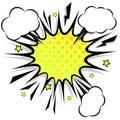 Retro comic design speech bubbles. Flash explosion with clouds