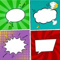 Retro comic empty speech bubbles set