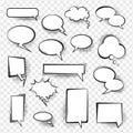 Retro comic empty speech bubbles set for message