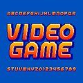 Retro computer game alphabet font. Pixel gradient oblique letters and numbers. Royalty Free Stock Photo