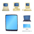 Retro computer item classic antique technology style business personal equipment and vintage pc desktop hardware