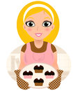 Retro cooking blond woman vintage holding cookies vector illustration Royalty Free Stock Image