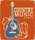 Retro Country music poster of acoustic guitar and cowboy American hat and boots. Vector music background with text on old paper Royalty Free Stock Photo
