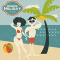 Retro couple on the beach vector illustration Royalty Free Stock Photos