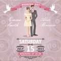 Retro couple bride and groom.Wedding invitation with paisley