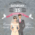 Retro couple bride and groom.Wedding invitation with paisley lac