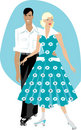 Retro couple with rollers Royalty Free Stock Photos