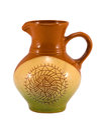 Retro craft handmade clay jug pitcher on white Stock Photography