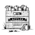 Retro crate of apples black and white wooden in woodcut style editable vector illustration with clipping mask Stock Photos