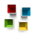 Retro cube shelves illustration on white Stock Images
