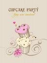 Retro cupcake background Royalty Free Stock Photo