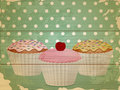 Retro cupcakes on wood Stock Photography