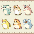 Retro cute animals set vector illustration Royalty Free Stock Photography