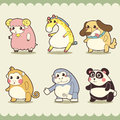 Retro cute animals set vector illustration Stock Image