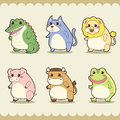 Retro cute animals set vector illustration Stock Photos