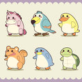 Retro cute animals set vector illustration Royalty Free Stock Photo